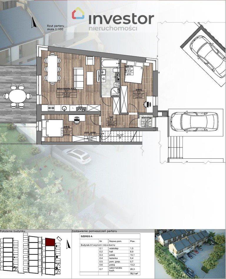Mieszkanie trzypokojowe na sprzedaż Porosły  70m2 Foto 1