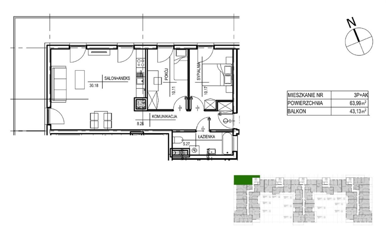 Mieszkanie trzypokojowe na sprzedaż Kielce, Oskara Kolberga  64m2 Foto 4
