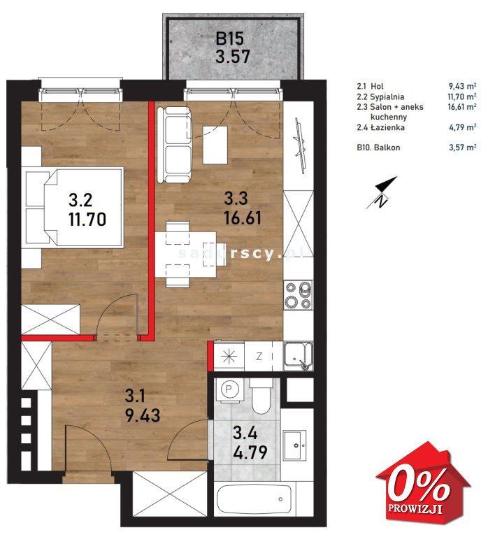 Mieszkanie dwupokojowe na sprzedaż Kraków, Bieżanów-Prokocim, Bieżanów-Prokocim, Wielicka  43m2 Foto 3