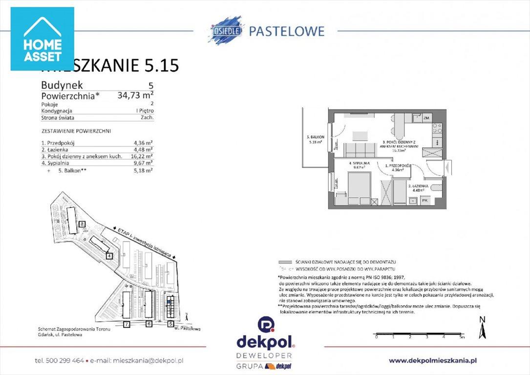 Mieszkanie dwupokojowe na sprzedaż Gdańsk, Łostowice, Pastelowa  35m2 Foto 3