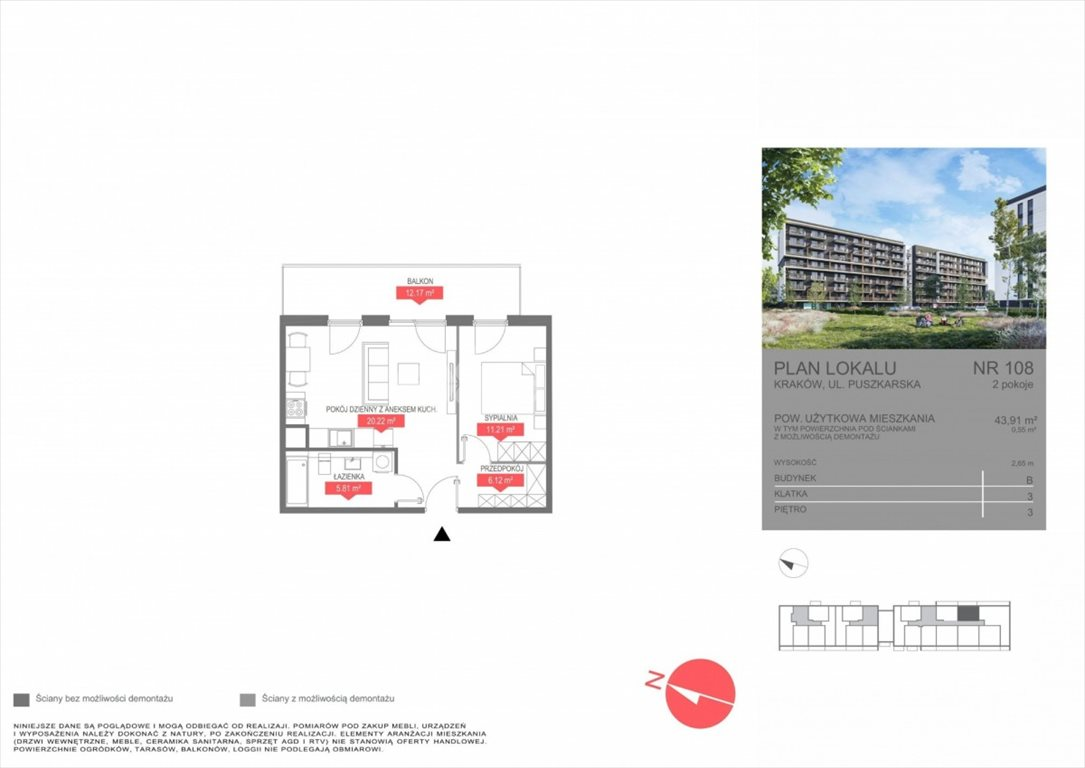 Mieszkanie dwupokojowe na sprzedaż Kraków, Bonarka, Puszkarska  44m2 Foto 5