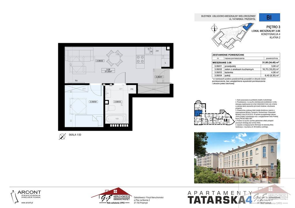 Mieszkanie dwupokojowe na sprzedaż Przemyśl, Tatarska  31m2 Foto 5
