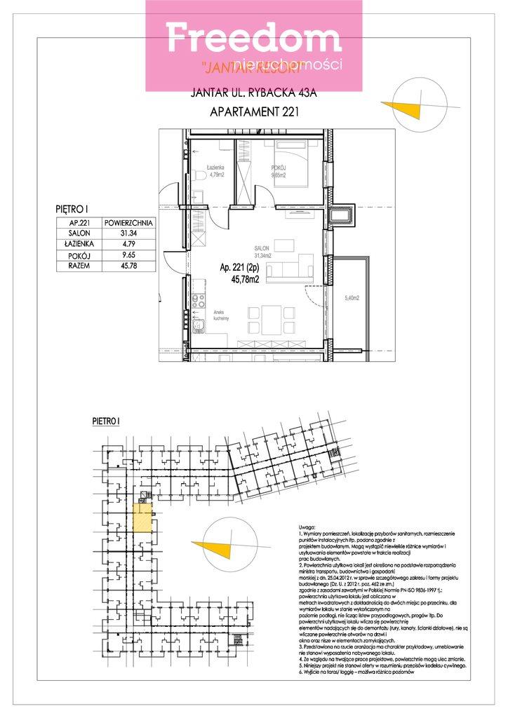 Mieszkanie dwupokojowe na sprzedaż Jantar, Rybacka  46m2 Foto 7
