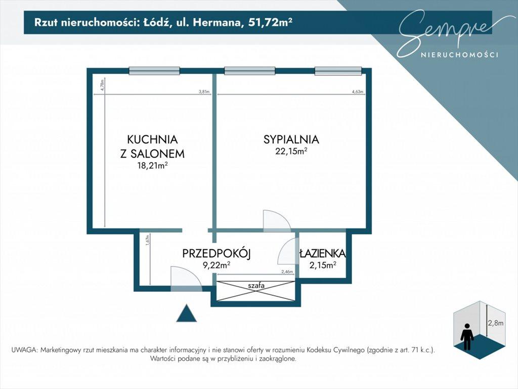 Mieszkanie dwupokojowe na sprzedaż Łódź, Bałuty, Hermana Konstadta  52m2 Foto 11
