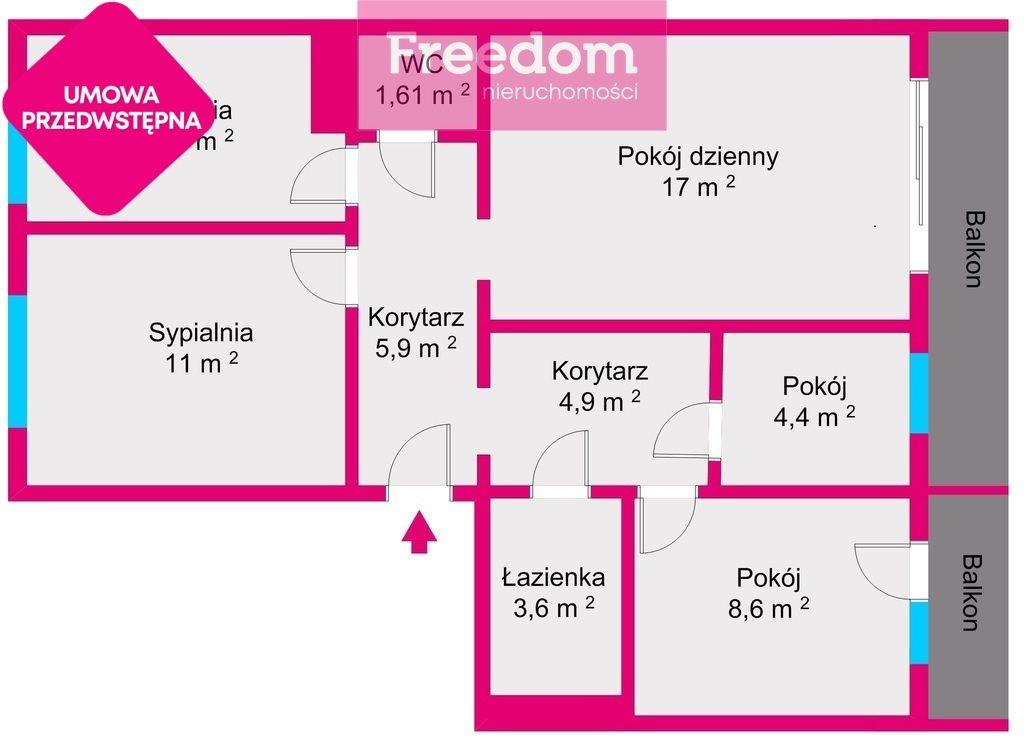 Mieszkanie czteropokojowe  na sprzedaż Rzeszów, Nowe Miasto, Podwisłocze  65m2 Foto 5