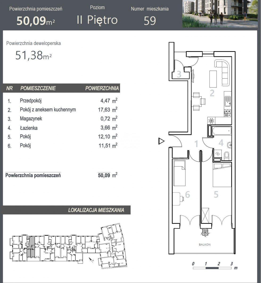 Mieszkanie trzypokojowe na sprzedaż Bydgoszcz, Szwederowo, Stanisława Leszczyńskiego  51m2 Foto 5