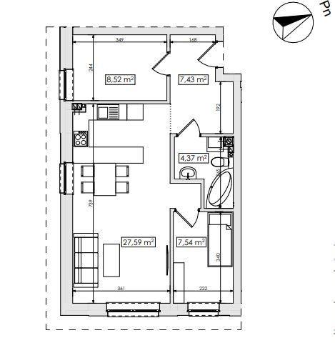 Mieszkanie trzypokojowe na sprzedaż Skarbimierzyce  55m2 Foto 3