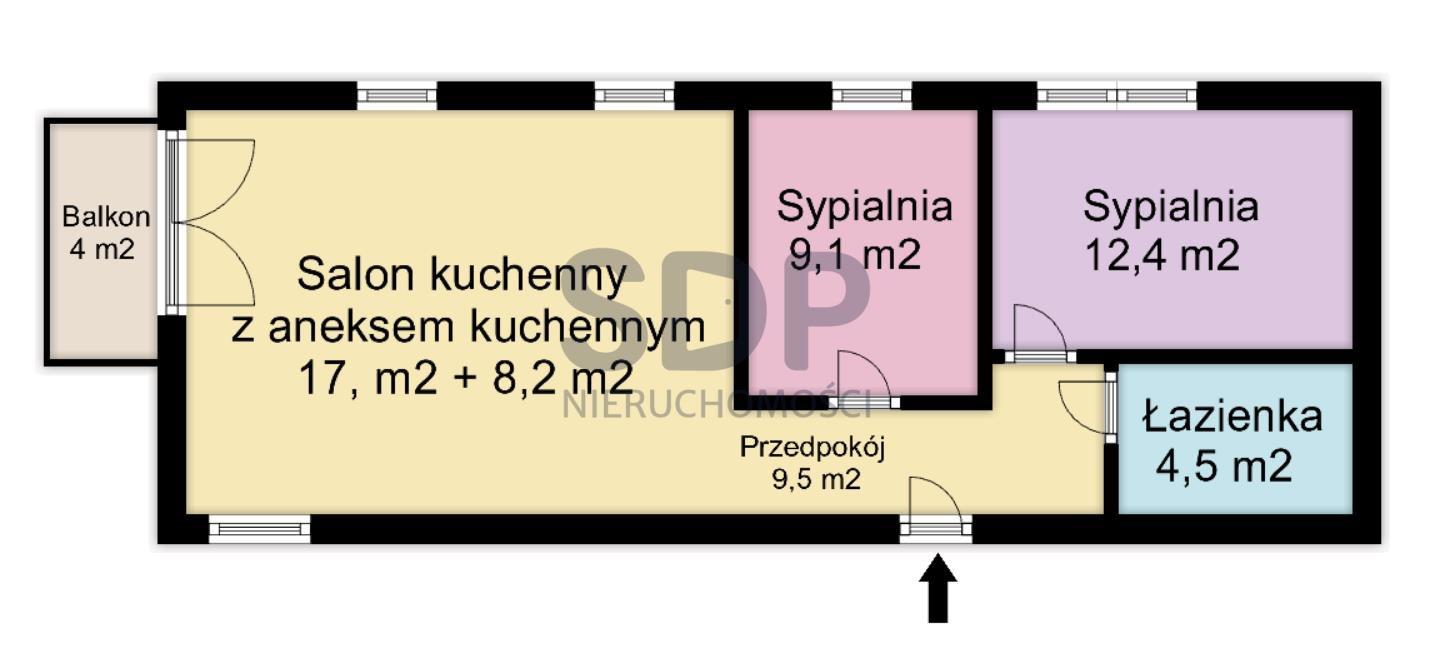 Mieszkanie trzypokojowe na sprzedaż Wrocław, Krzyki, Borek, Racławicka  62m2 Foto 4