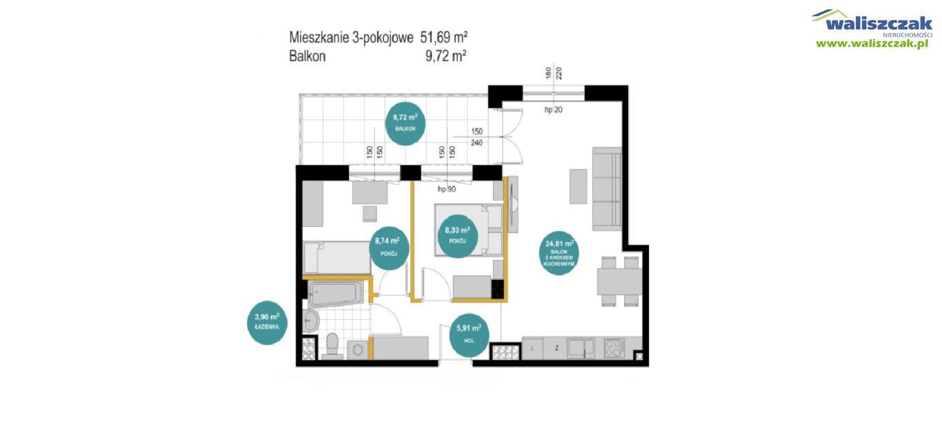Mieszkanie trzypokojowe na sprzedaż Piotrków Trybunalski  52m2 Foto 1