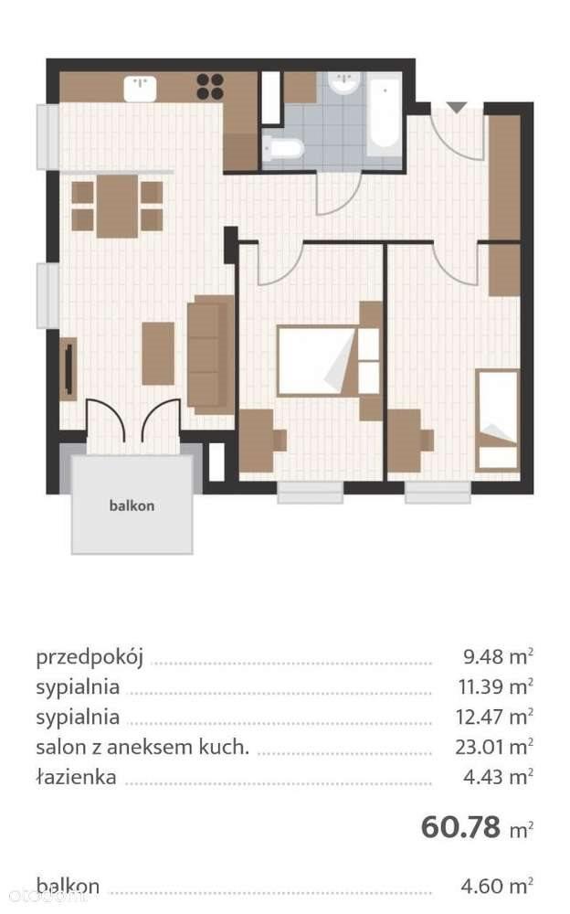 Mieszkanie trzypokojowe na sprzedaż Rzeszów, ul. Prymasa 1000-lecia  61m2 Foto 8