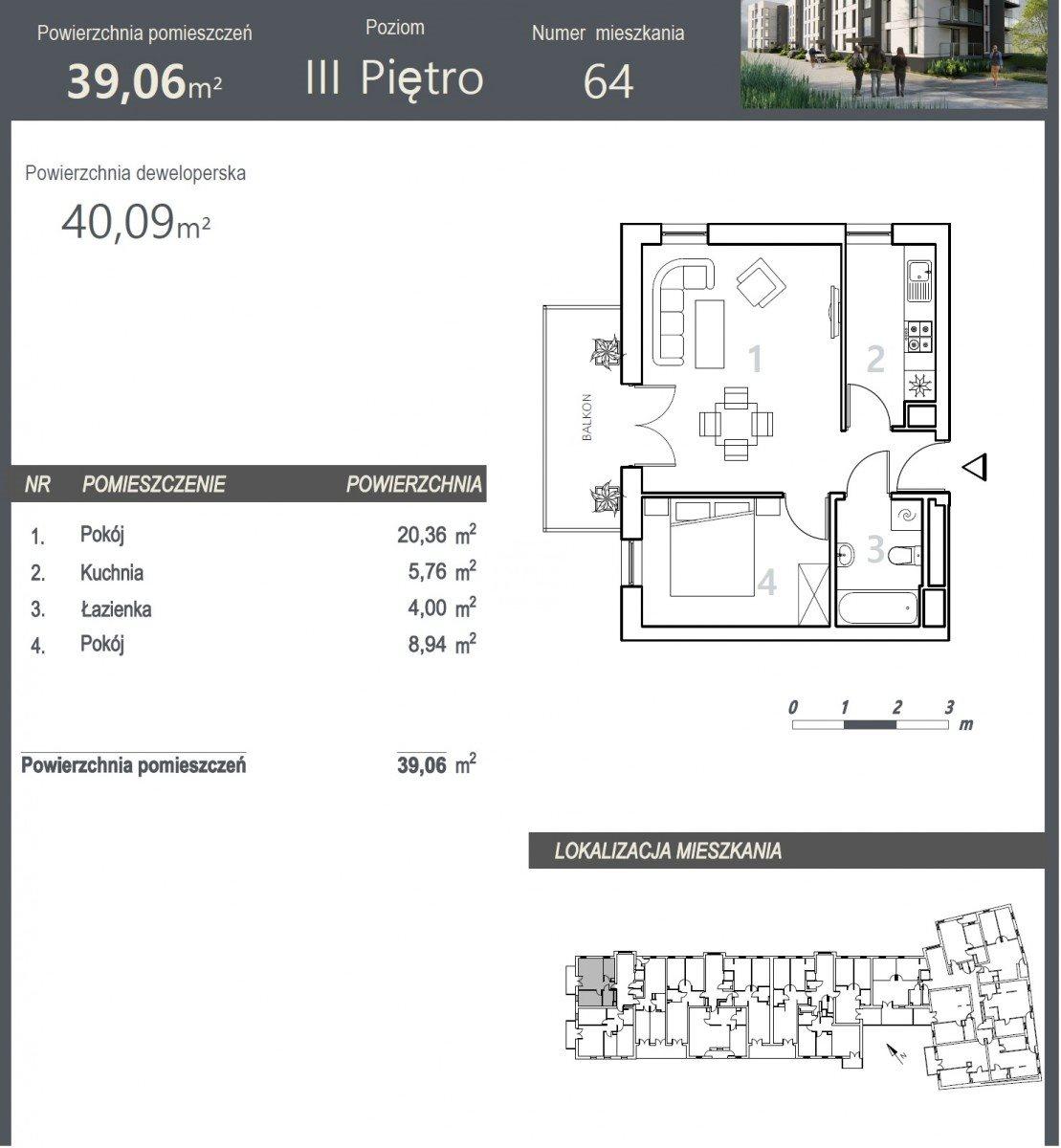 Mieszkanie dwupokojowe na sprzedaż Bydgoszcz, Szwederowo, Stanisława Leszczyńskiego  40m2 Foto 5