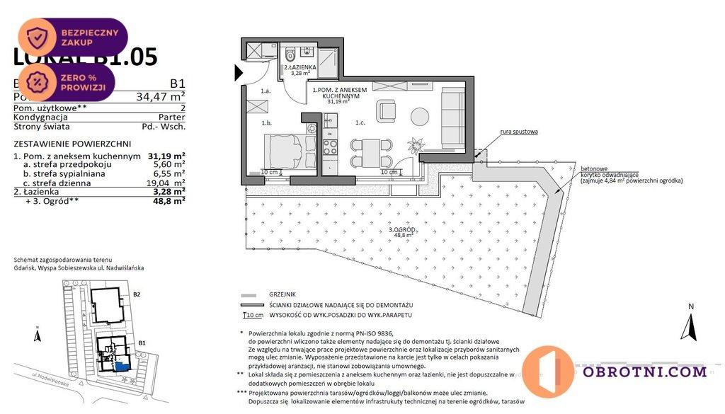 Mieszkanie dwupokojowe na sprzedaż Gdańsk, Sobieszewo, Nadwiślańska  34m2 Foto 2