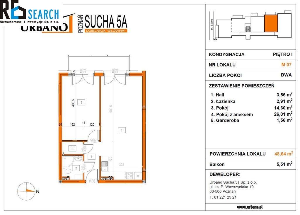 Mieszkanie dwupokojowe na sprzedaż Poznań, Nowe Miasto, Sucha  49m2 Foto 10