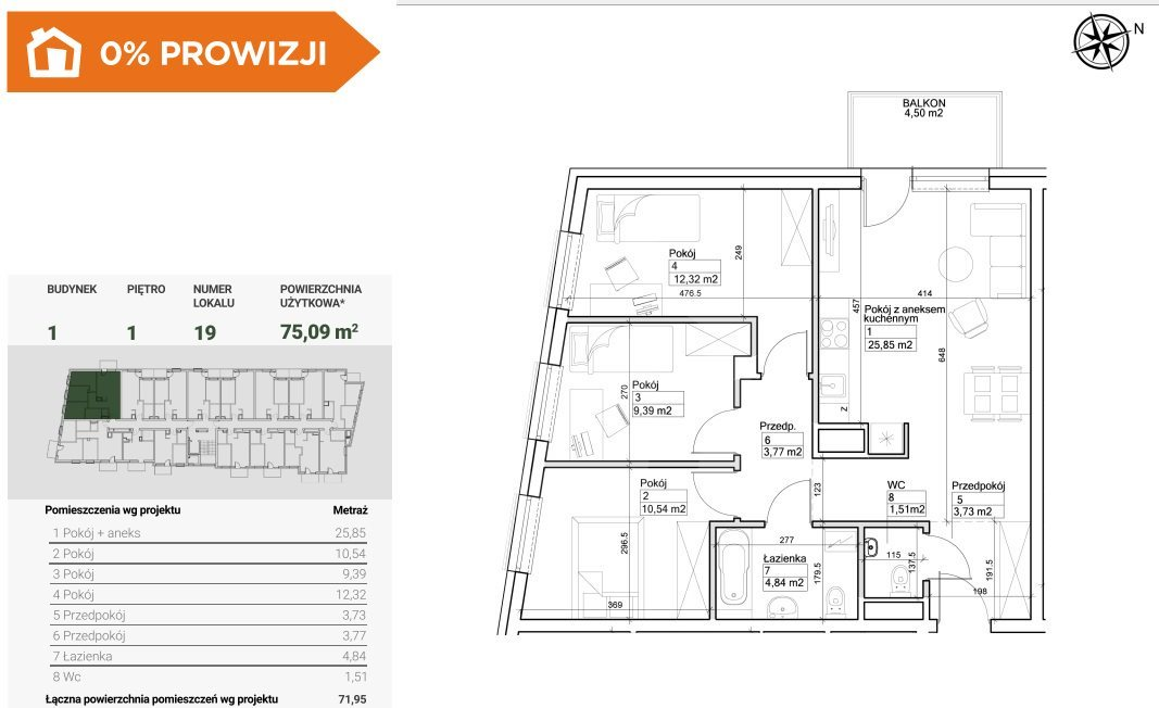 Mieszkanie czteropokojowe  na sprzedaż Bydgoszcz, Szwederowo  75m2 Foto 2