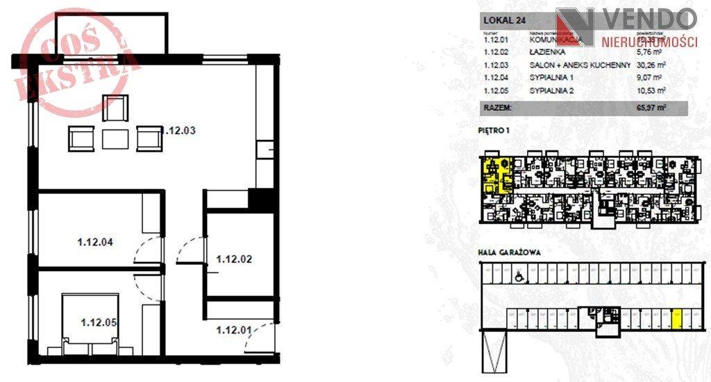Mieszkanie trzypokojowe na sprzedaż Zalasewo, Kórnicka  66m2 Foto 1