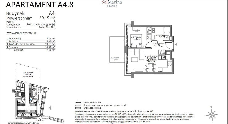 Mieszkanie dwupokojowe na sprzedaż Gdańsk, ul. Nadwiślańska  39m2 Foto 5
