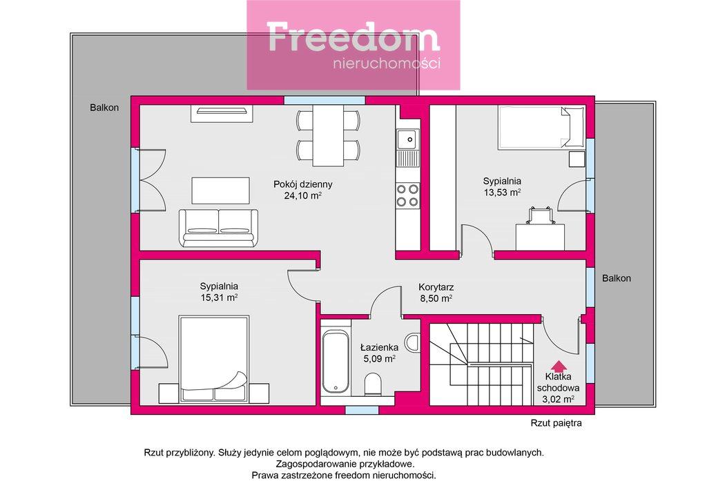 Mieszkanie trzypokojowe na sprzedaż Mrągowo, Młynowa  72m2 Foto 3