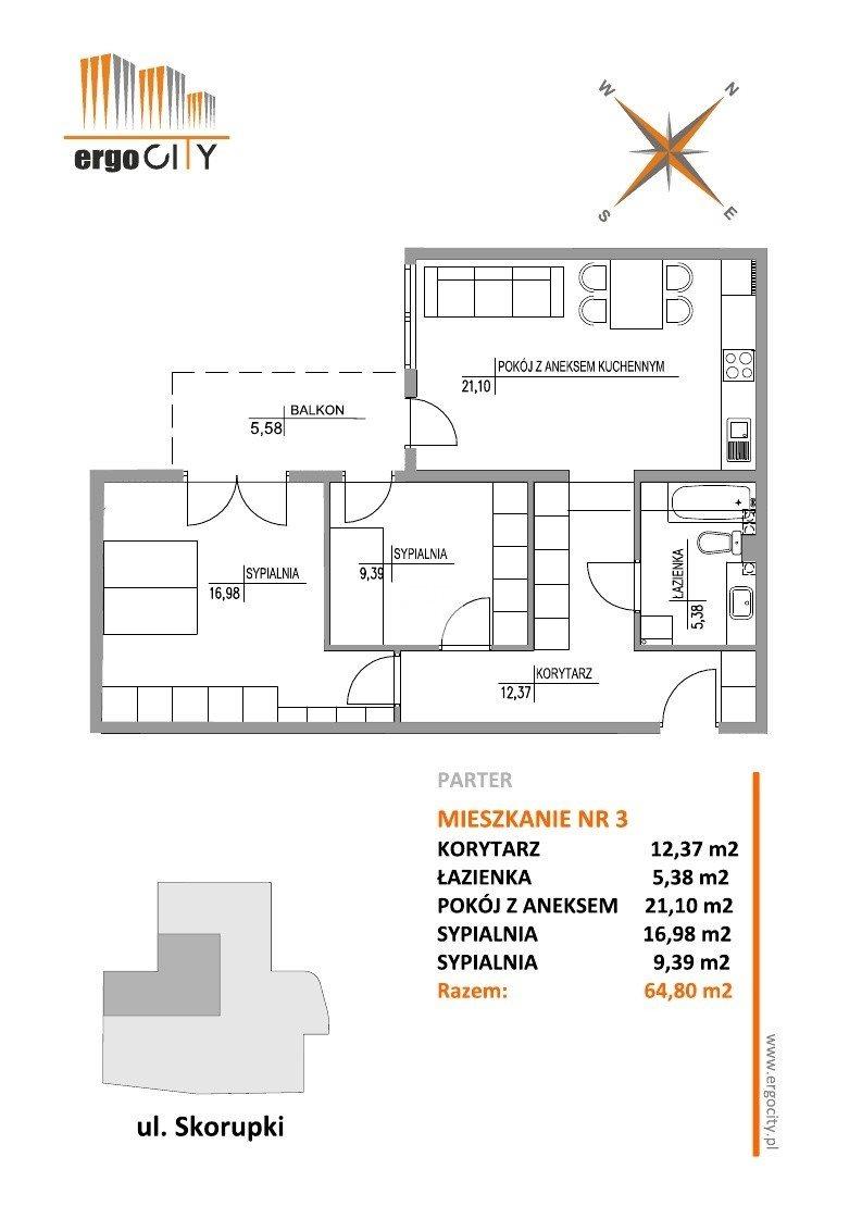 Mieszkanie trzypokojowe na sprzedaż Bydgoszcz, Szwederowo, ks. Ignacego Skorupki  65m2 Foto 4