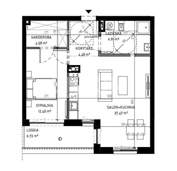 Mieszkanie dwupokojowe na sprzedaż Wrocław, Krzyki, Skarbowców  56m2 Foto 3