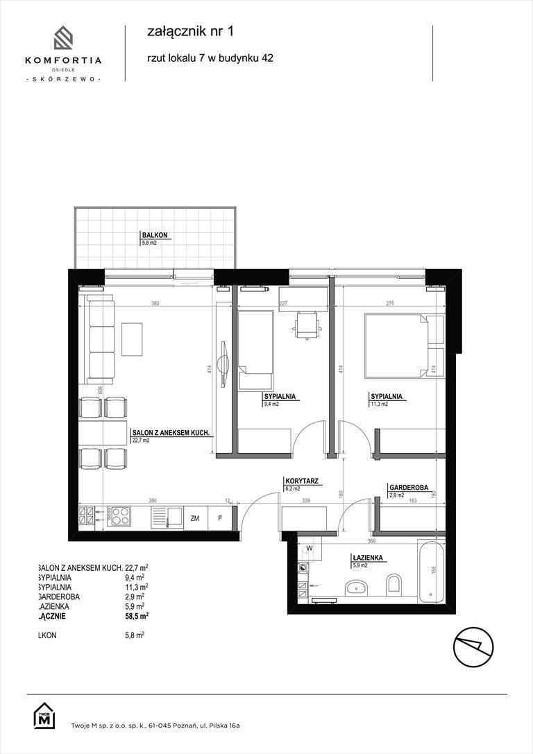 Nowe mieszkanie trzypokojowe KOMFORTIA  Osiedle SKÓRZEWO Skórzewo, Kozierowskiego 40-42  59m2 Foto 2