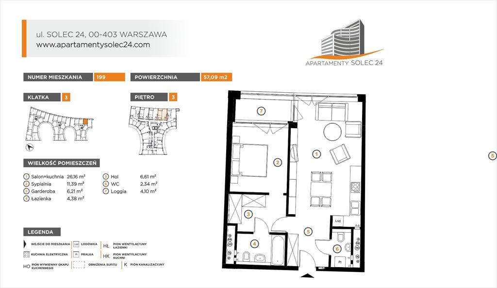 Mieszkanie dwupokojowe na sprzedaż Apartamenty Solec 24 Warszawa, Śródmieście, Solec 24  57m2 Foto 1