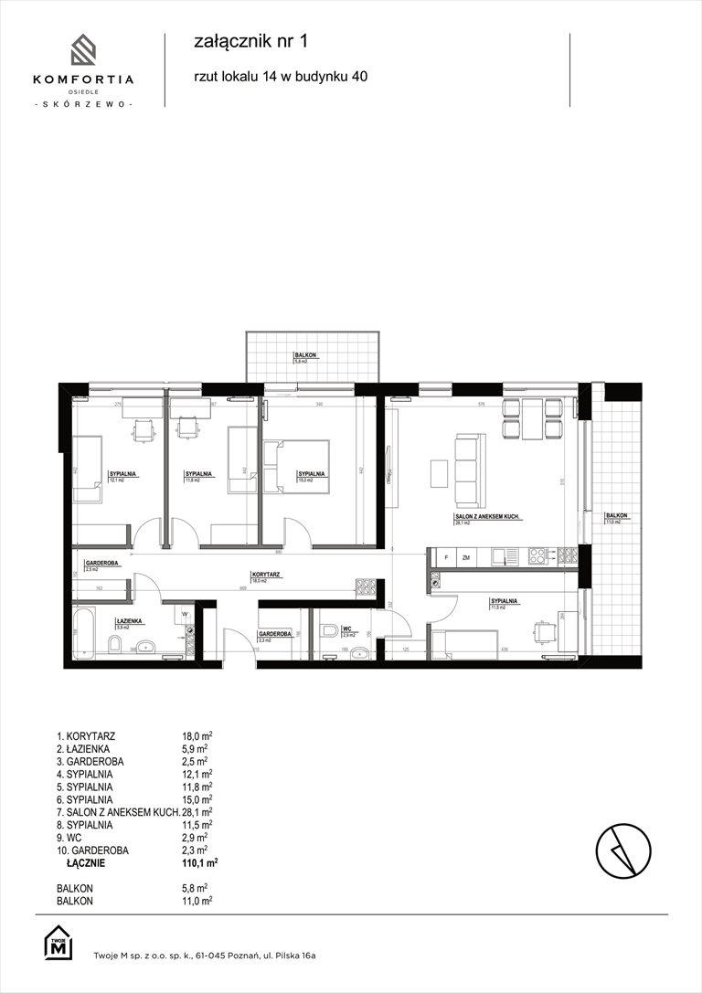 Nowe mieszkanie KOMFORTIA  Osiedle SKÓRZEWO Skórzewo, Kozierowskiego 40-42  110m2 Foto 2