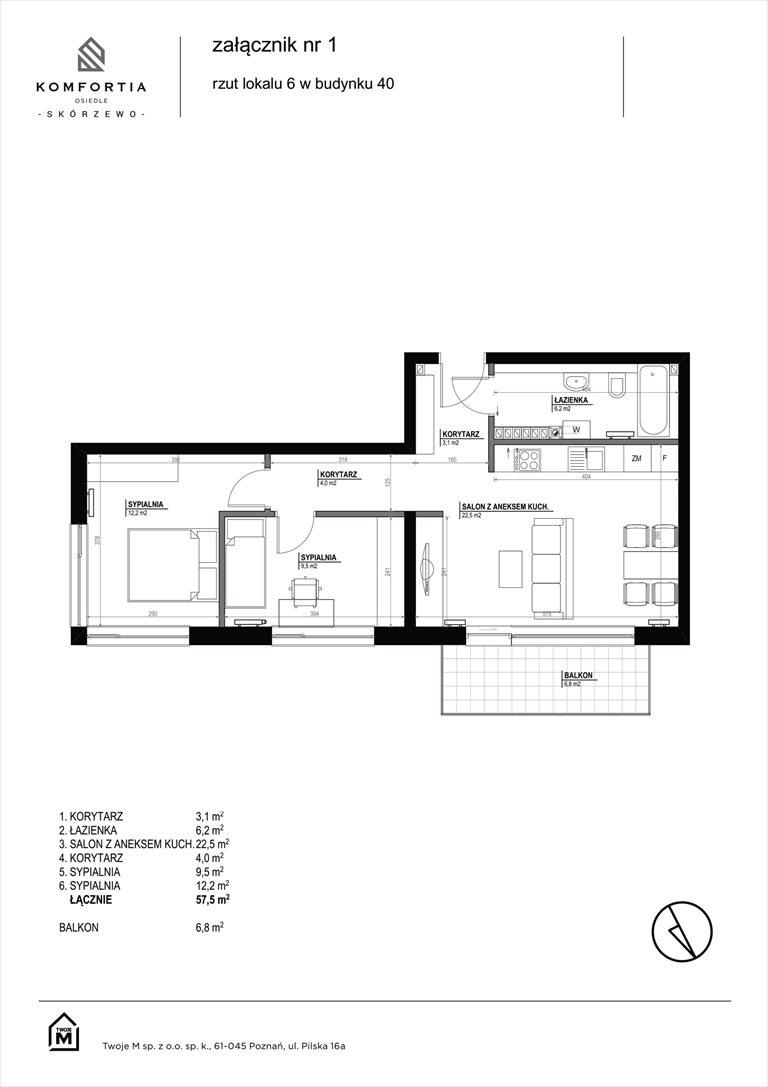 Nowe mieszkanie trzypokojowe KOMFORTIA  Osiedle SKÓRZEWO Skórzewo, Kozierowskiego 40-42  58m2 Foto 1