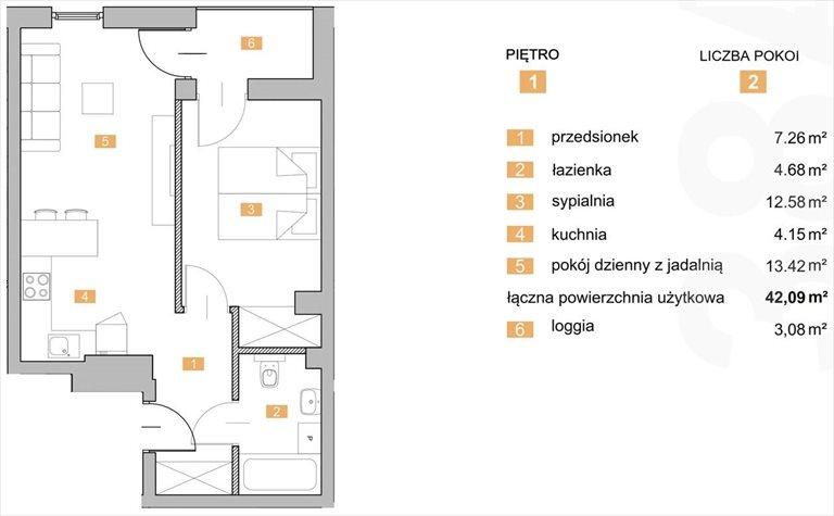 """Nowe mieszkanie dwupokojowe """"NOWA KIELECKA"""" Sosnowiec Sosnowiec, Zagórze, Kielecka  42m2 Foto 1"""