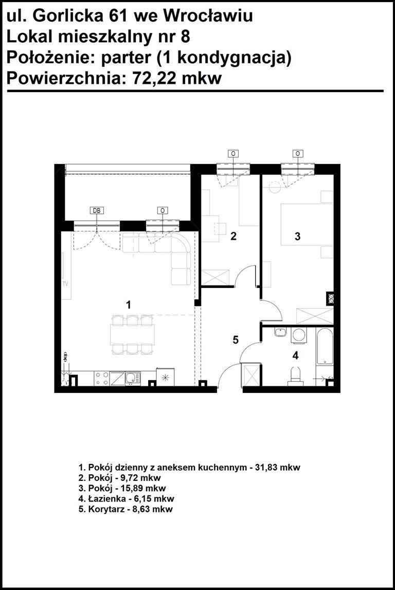 Nowe mieszkanie trzypokojowe GORLICKA 61 Wrocław, Psie Pole, Gorlicka 61  72m2 Foto 6