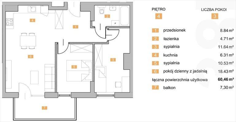 """Nowe mieszkanie trzypokojowe """"NOWA KIELECKA"""" Sosnowiec Sosnowiec, Zagórze, Kielecka  60m2 Foto 1"""