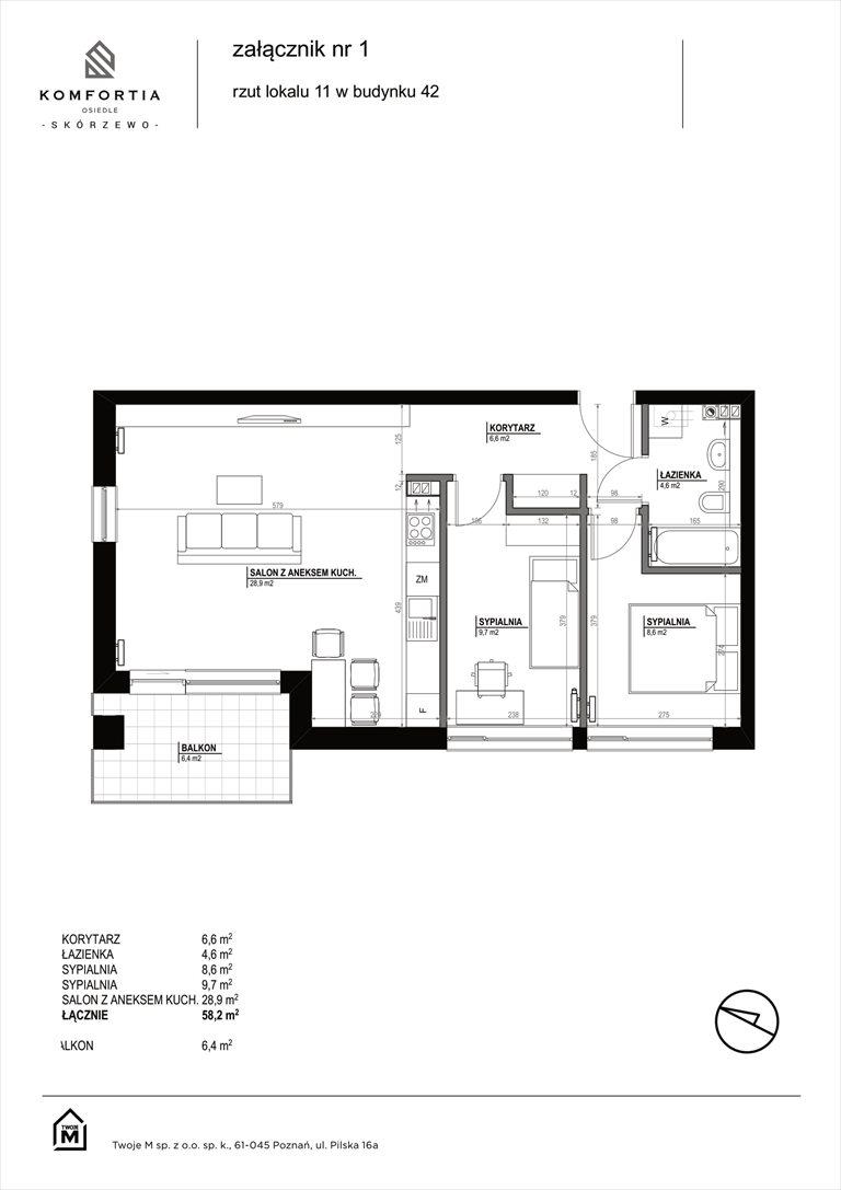 Nowe mieszkanie trzypokojowe KOMFORTIA  Osiedle SKÓRZEWO Skórzewo, Kozierowskiego 40-42  58m2 Foto 2