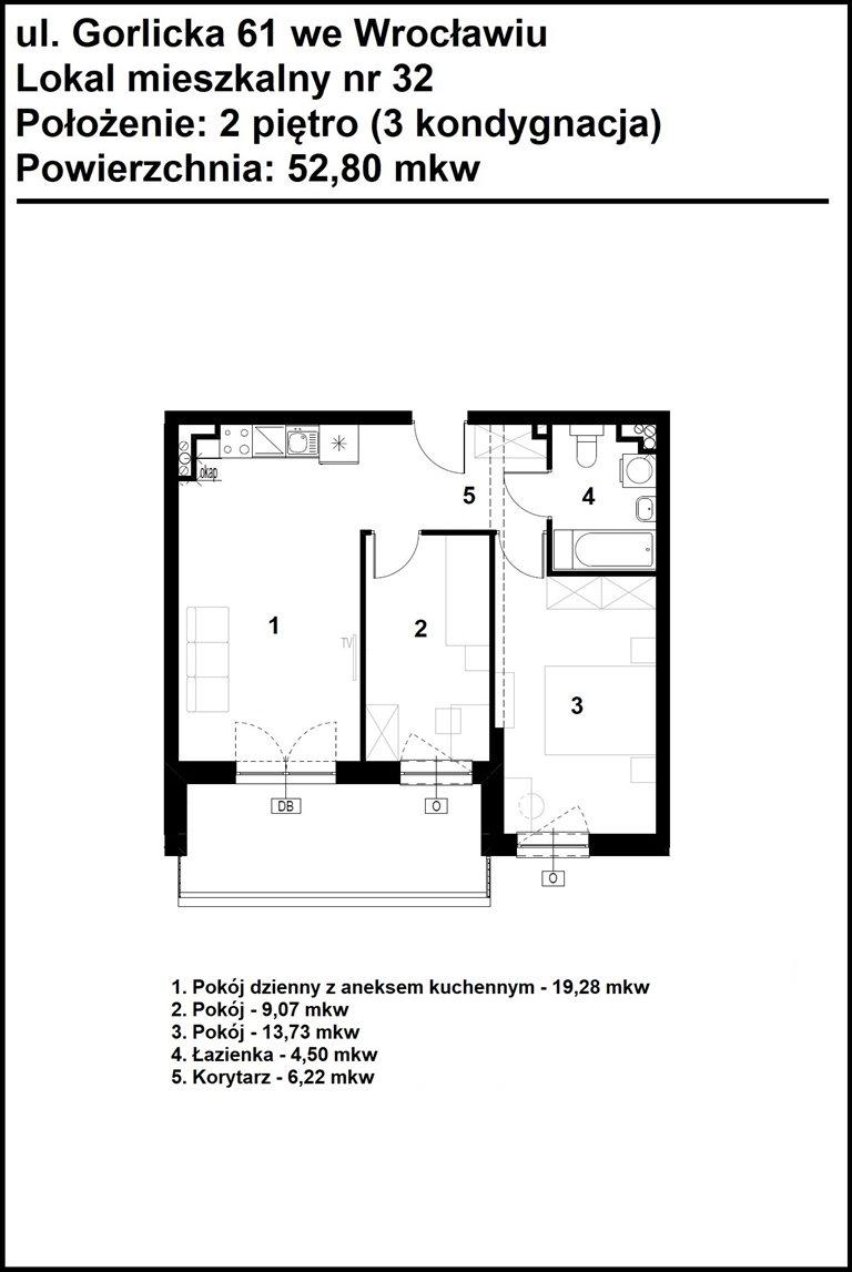 Nowe mieszkanie dwupokojowe GORLICKA 61 Wrocław, Psie Pole, Gorlicka 61  53m2 Foto 6