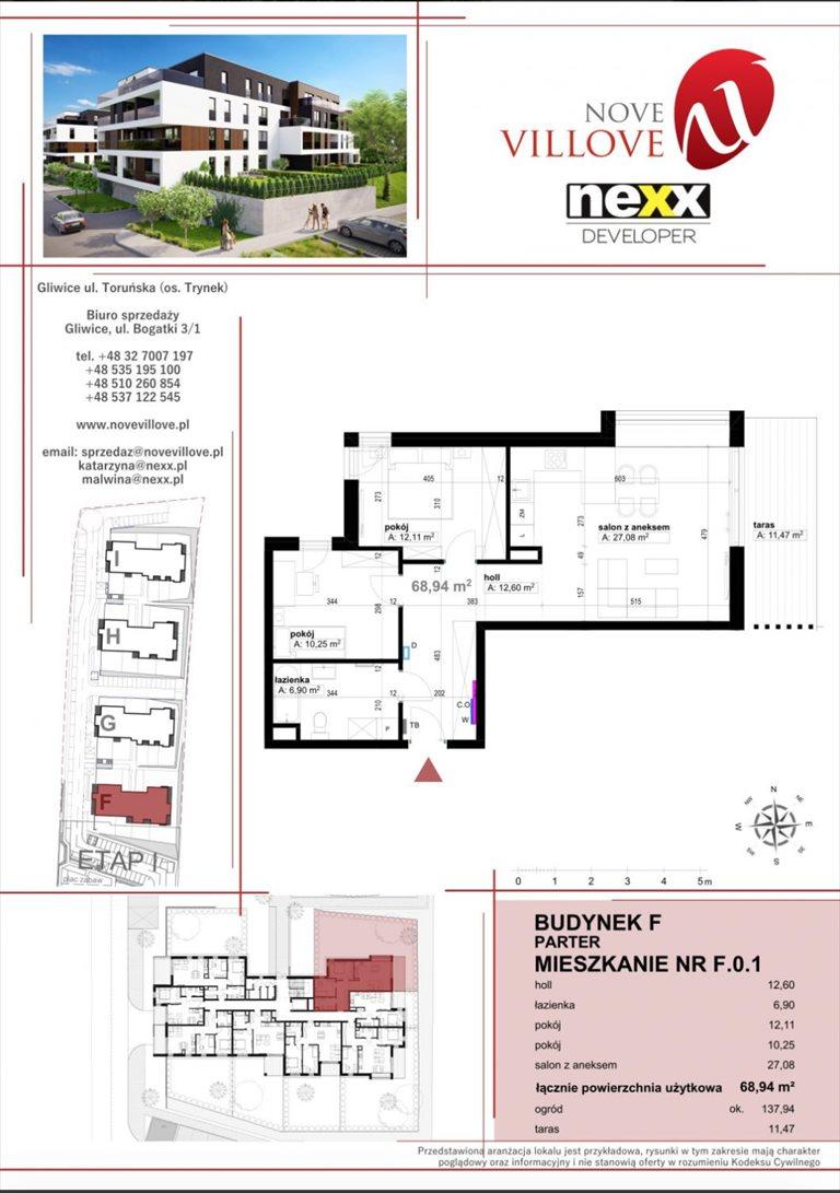 Nowe mieszkanie trzypokojowe Nove Villove II Etap Gliwice, Os. Trynek, ul. Toruńska  69m2 Foto 1