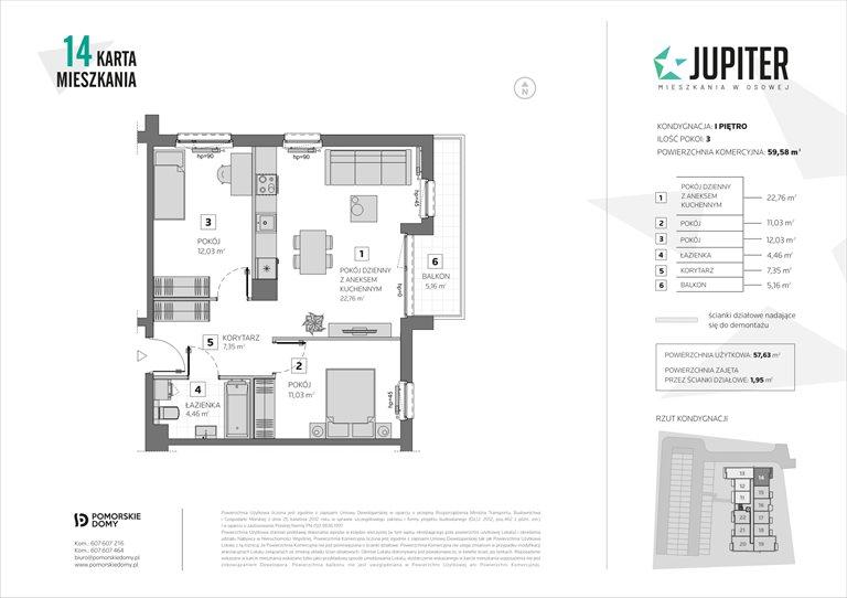 Nowe mieszkanie trzypokojowe Jupiter Gdańsk, Osowa, Galaktyczna 20  60m2 Foto 1