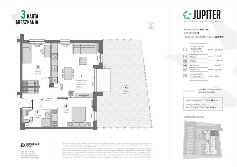 Nowe mieszkanie trzypokojowe Jupiter Gdańsk, Osowa, Galaktyczna 20  60m2 Foto 10