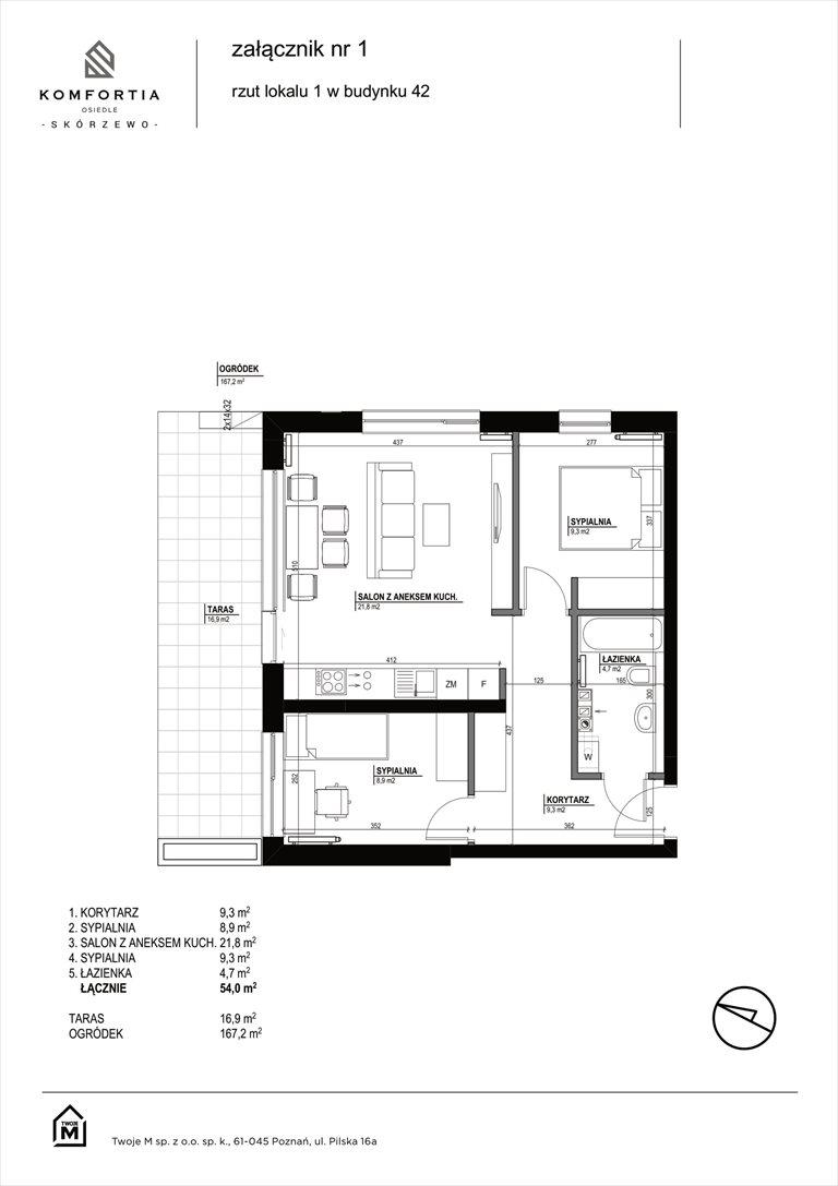 Nowe mieszkanie trzypokojowe KOMFORTIA  Osiedle SKÓRZEWO Skórzewo, Kozierowskiego 40-42  54m2 Foto 1