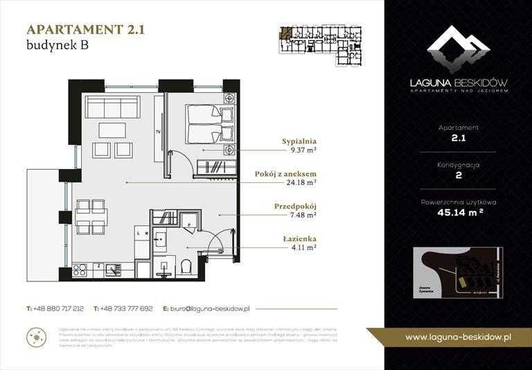 Nowe mieszkanie dwupokojowe Laguna Beskidów Apartamenty Nad Jeziorem Szczyrk  38m2 Foto 4