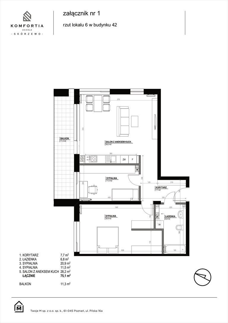 Nowe mieszkanie trzypokojowe KOMFORTIA  Osiedle SKÓRZEWO Skórzewo, Kozierowskiego 40-42  75m2 Foto 2